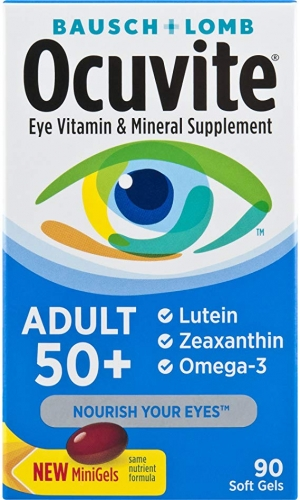 ihocon: Bausch + Lomb Ocuvite Adult 50+ Vitamin & Mineral Supplement with Lutein, Zeaxanthin, and Omega-3, Soft Gels, 90-Count
