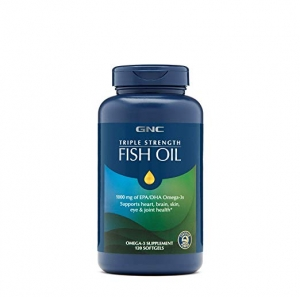 ihocon: GNC Triple Strength Omega 3 Fish Oil 1000mg, 120 Count, Supports Joint, Skin, Eye, and Heart Health 三倍強效魚油