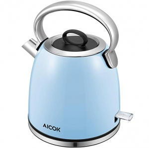 ihocon: Aicok 1500W 1.7-Liter Brushed Stainless Steel Kettle with Detachable Mesh Filter, British Strix for Auto off and Boil Dry Protection  不銹鋼電熱水瓶