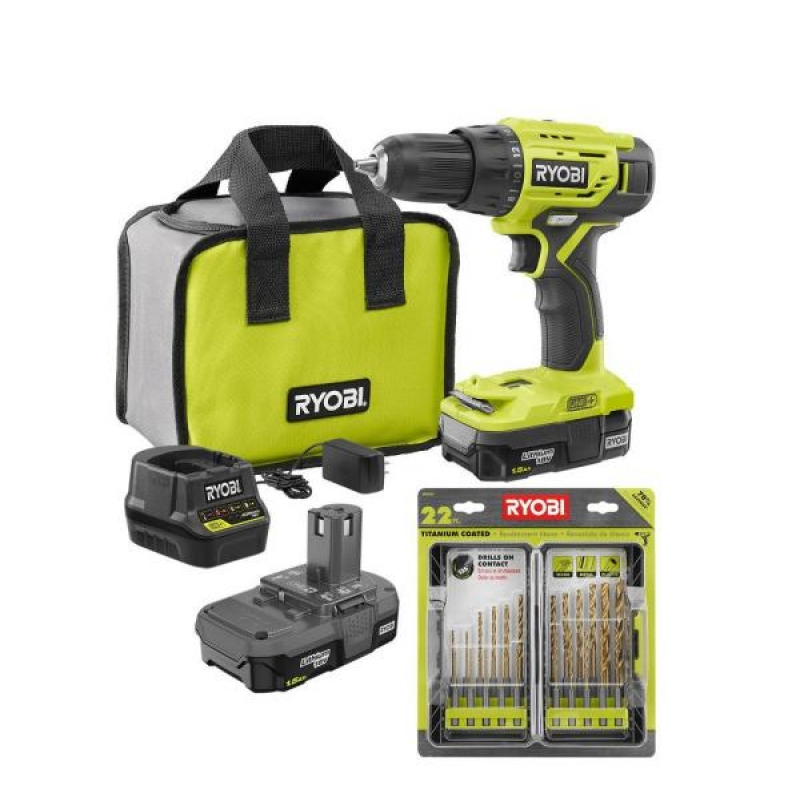 ihocon: RYOBI ONE+ 18-Volt 1/2 in. Drill/Driver Kit with (2) 1.5 Ah Batteries, Charger, Bag, and 22-Piece Titanium Drill Bit Kit 電鑽及配件