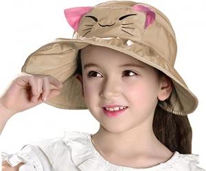 ihocon: Bienvenu Kids Girls Wide Brim Visor Sun Hat - UV Protection Foldable Beach Cap 兒童遮陽帽