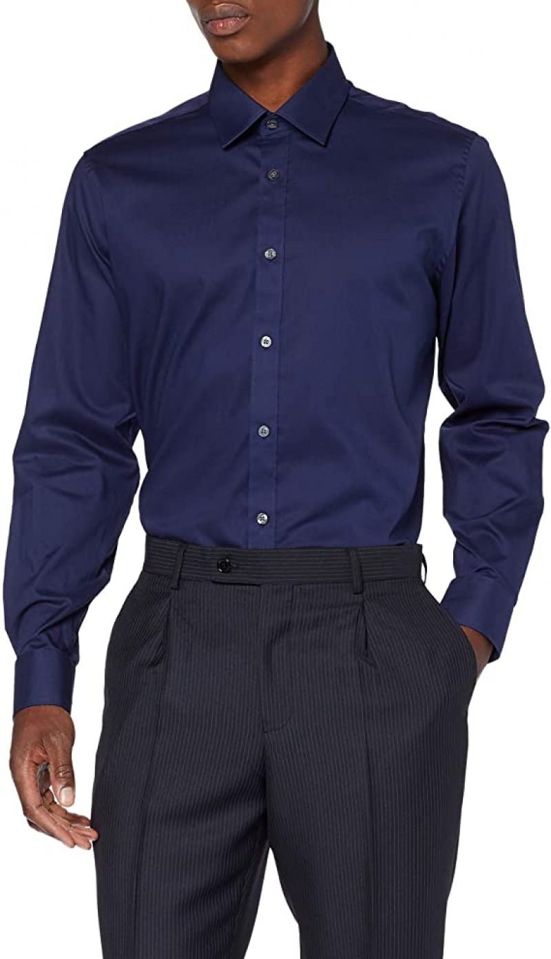 ihocon: [Amazon自家品牌] find. Men's Regular Fit Formal Long Sleeve Shirt 男士長袖襯衫 (size M)