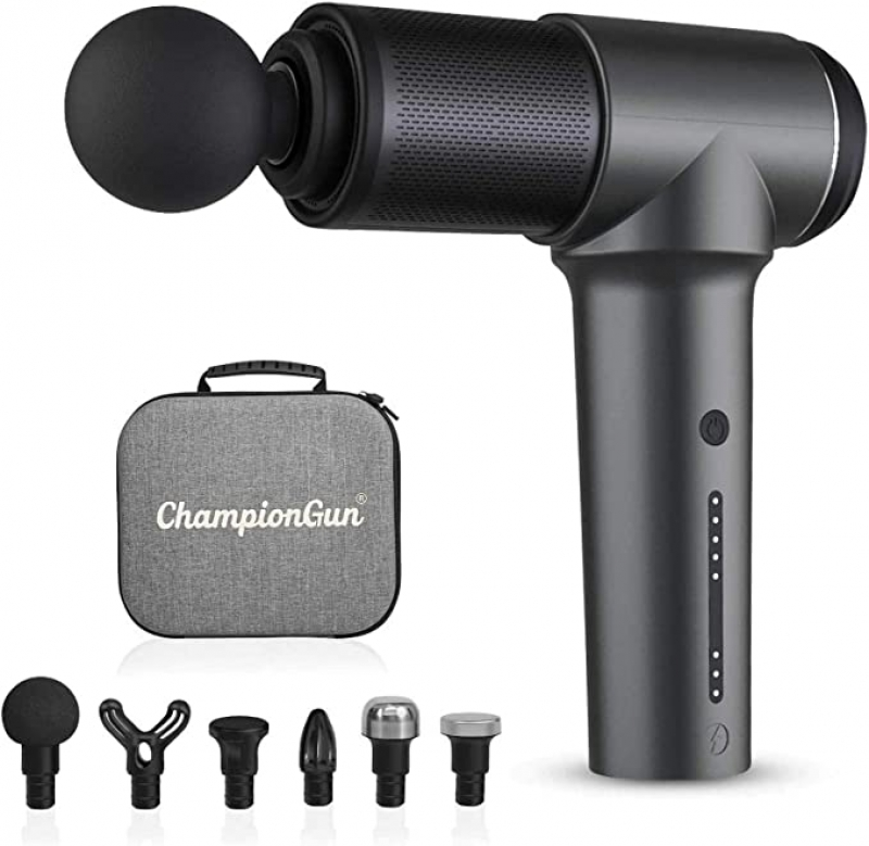 ihocon: ChampionGun Lightweight Deep Tissue Muscle Massager Handheld with 6 Heads深層按磨槍