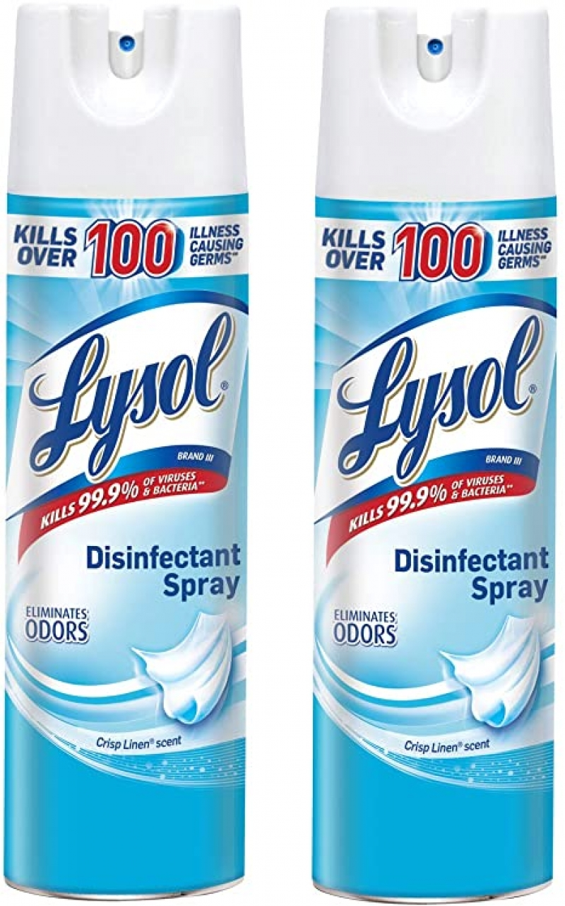 ihocon: Lysol Disinfectant Spray, Basic Pack, Crisp Linen, 19 oz (Pack of 2) 消毒噴霧