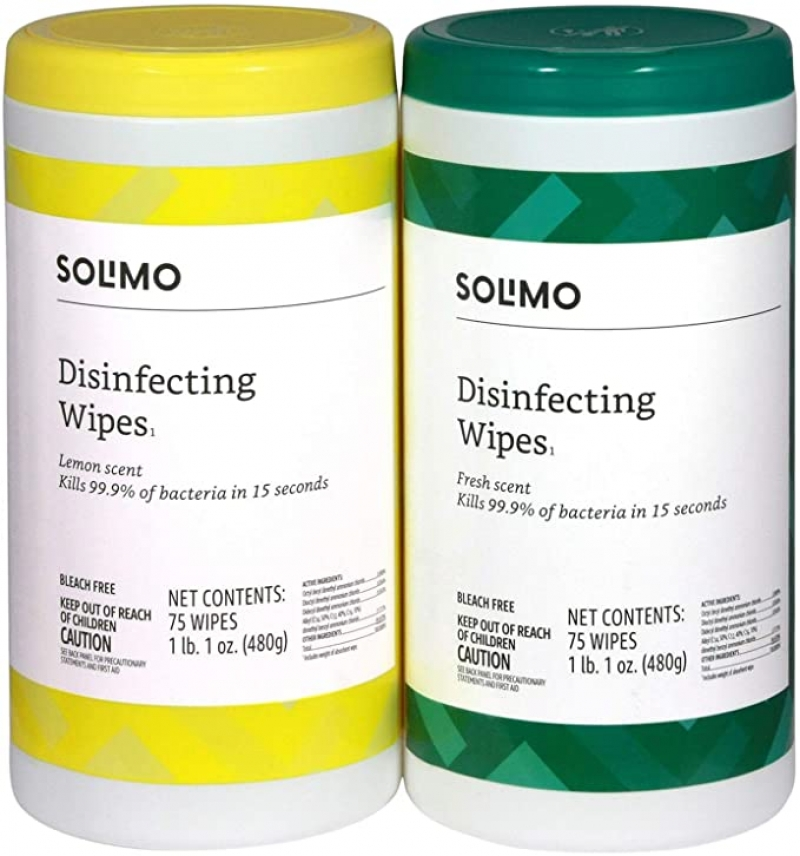 ihocon: [Amazon自家品牌] Solimo Disinfecting Wipes, 75 Wipes Each (Pack of 2)消毒濕巾