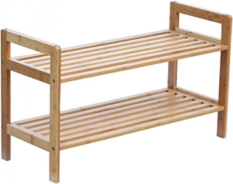 ihocon: Oceanstar 2-Tier Bamboo Stackable Shoe Rack  雙層竹製鞋架