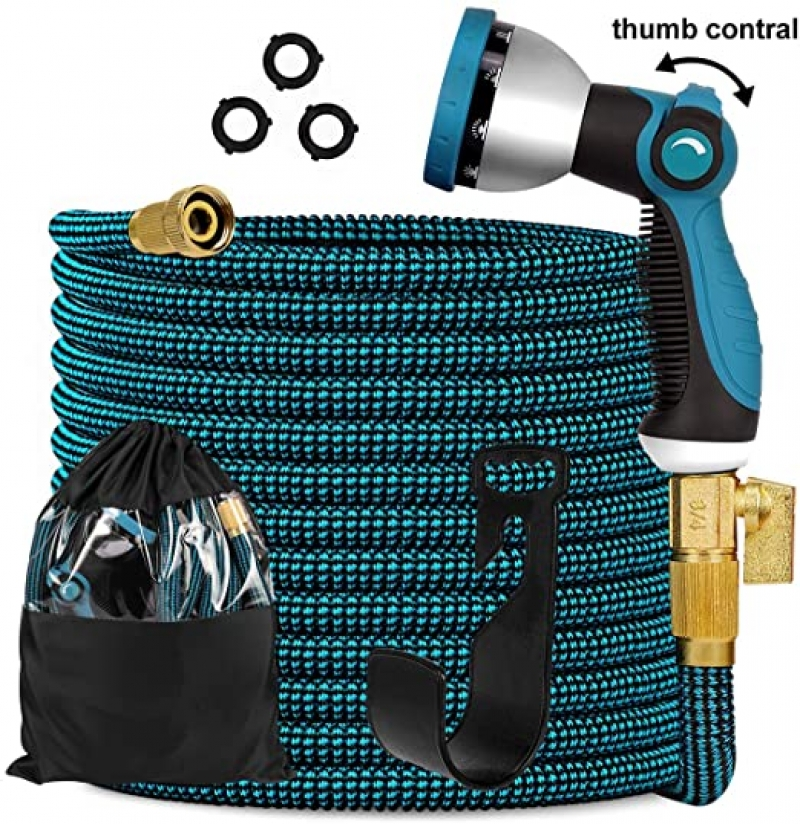 ihocon: Knoikos Expandable Garden Hose 50ft with 10 Function Nozzle伸縮澆花水管, 含噴水頭