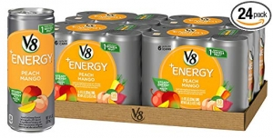 ihocon: V8 +Energy Healthy Energy Drink, Natural Energy from Tea, Peach Mango, 8 Oz Can (4 Packs of 6, Total of 24) 健康能量飲料