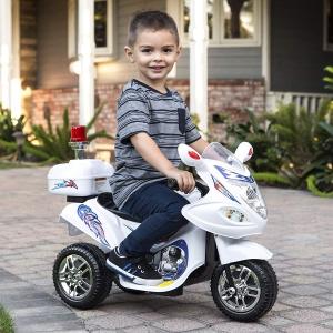 ihocon: Best Choice Products 6V Kids Ride-On Police Motorcycle w/ 3 Wheels, Storage - White 兒童電動三輪警用摩托車