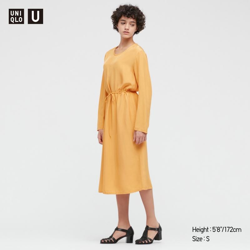 ihocon: UNIQLO WOMEN U SHINY RAYON LONG-SLEEVE DRESS 女士長袖洋裝-多色可選