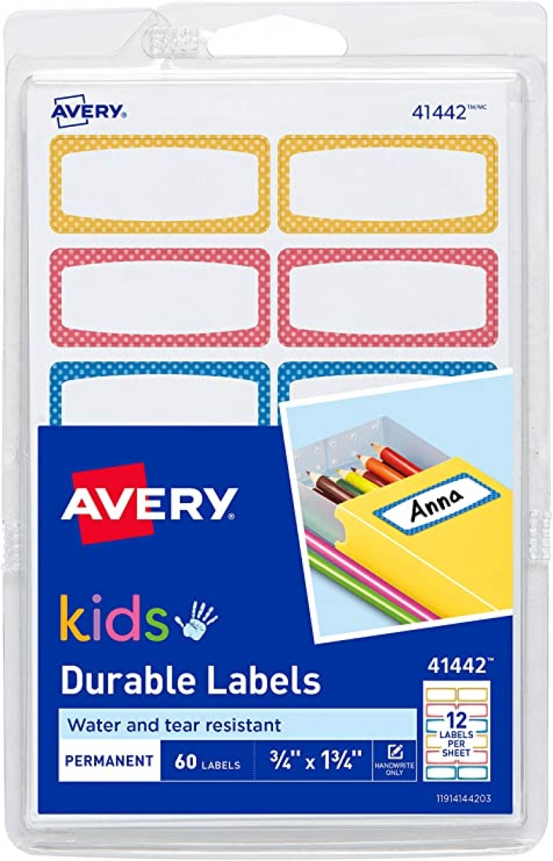 ihocon: Avery 0.75 x 1.75 Inch Durable Kids Gear Labels, 3/4 x 1-3/4, 60 Labels 耐用自黏標籤