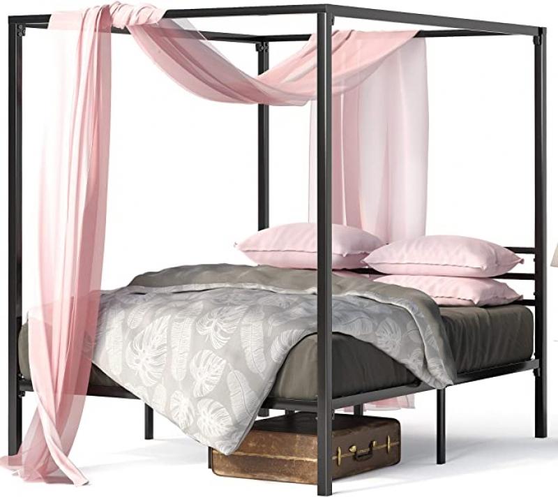 ihocon: Zinus Patricia Metal Framed Canopy Four Poster Platform Bed Frame金屬床架, Queen size