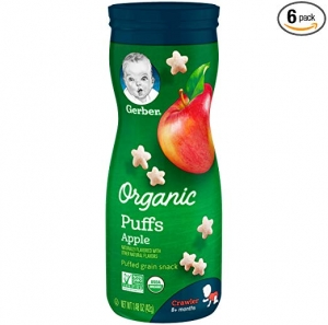 ihocon: Gerber Organic Puffs, Apple, 6 Count 有機幼兒泡芙 6罐