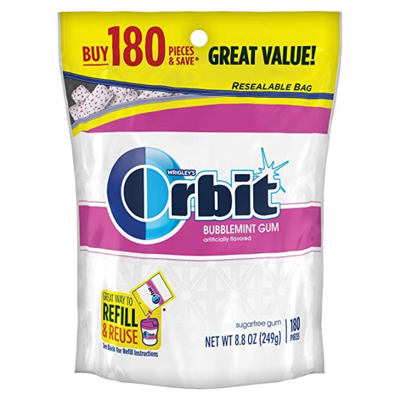 ihocon: ORBIT Bubblemint Sugarfree Gum, 8.8-Ounce Resealable Bag, 180 Pieces 無糖口香糖