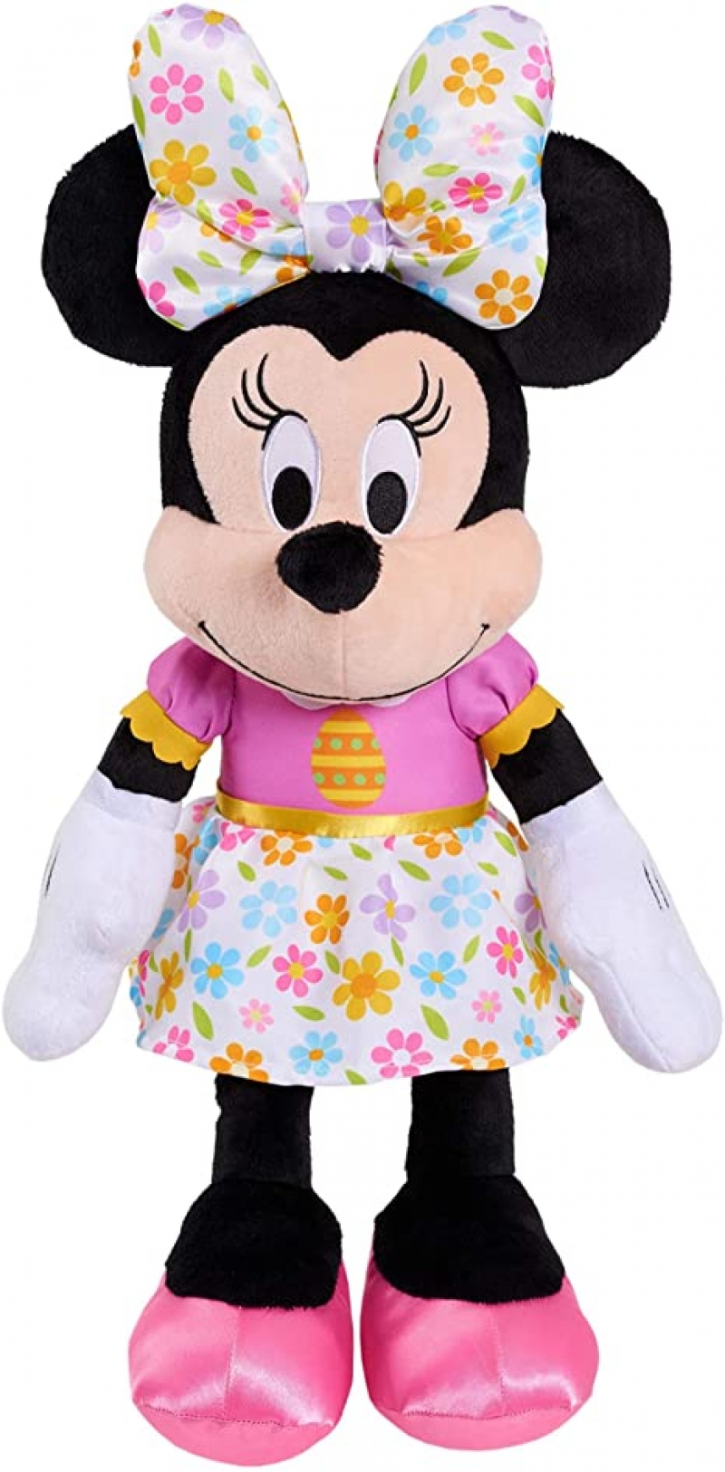 ihocon: Disney Easter Large 19 Inch Plush Minnie Mouse in Spring Themed Dress and Oversized Matching Bow, Easter Basket and Presents 迪士尼米妮復活節玩偶