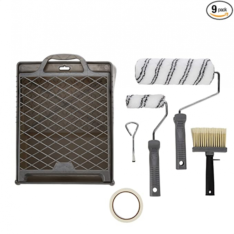 ihocon: Amazon Basics Paint Roller Kit - Includes Paint Roller Covers and Paint Cage Frame With Paint Tray, 9-Piece  油漆滾筒, 油漆刷及油漆盤