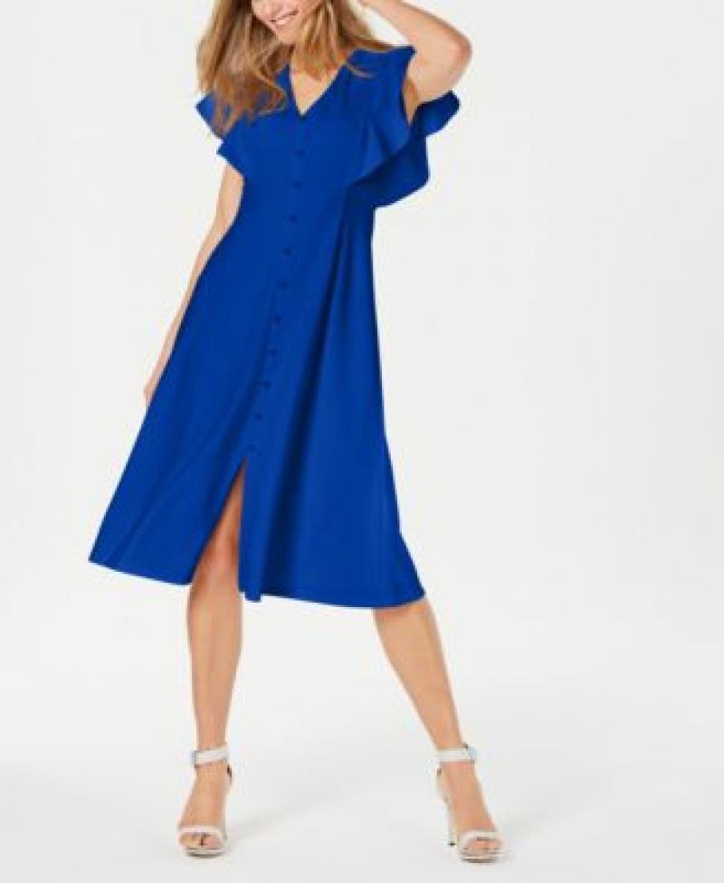 ihocon: Calvin Klein Front-Button A-Line Midi Dress女士洋裝-多色可選