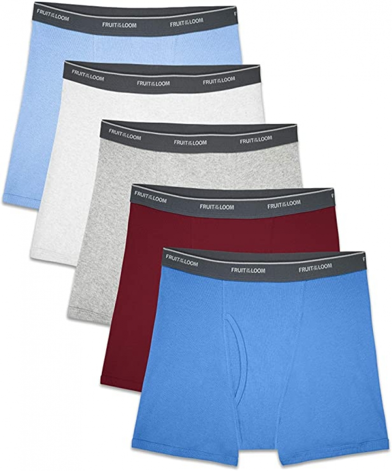 ihocon: Fruit of the Loom Boys' 5 Pack Assorted Print Boxer Briefs 男童平角內褲(Size:S)