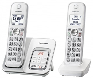 ihocon: PANASONIC Expandable Cordless Phone System with Answering Machine and Call Block - 2 Cordless Handsets - KX-TGD532W (White) 無線答錄電話
