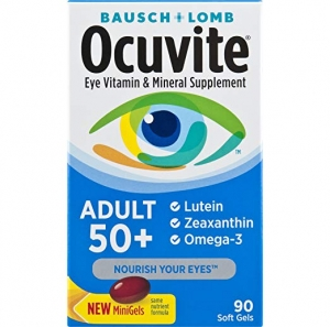 ihocon: Bausch + Lomb Ocuvite Adult 50+ Vitamin & Mineral Supplement with Lutein, Zeaxanthin, and Omega-3, Soft Gels, 90-Count  銀髮族眼睛保健品, 90粒