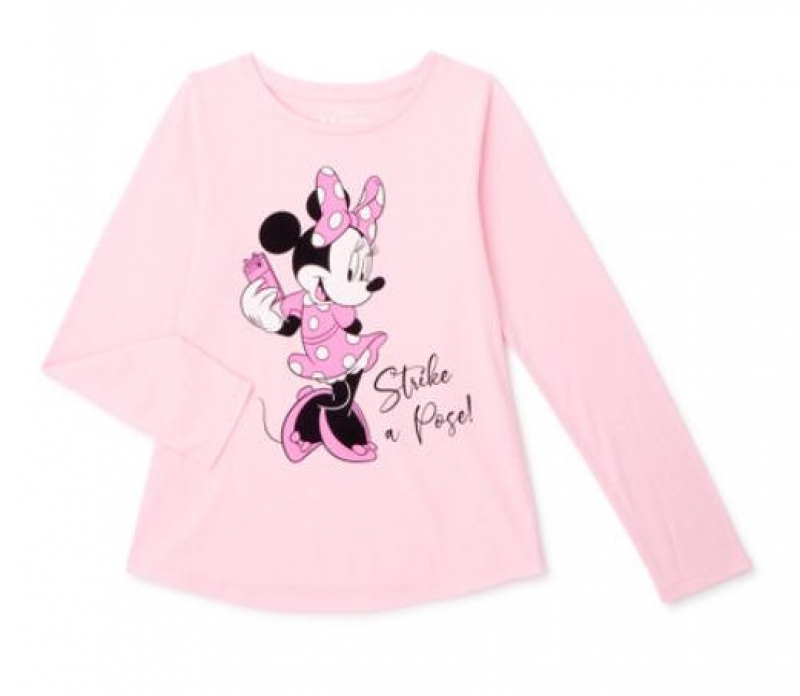 ihocon: Minnie Mouse Girls Long Sleeve Graphic T-Shirt 兒童米妮長袖衫