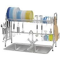 ihocon: Over The Sink Dish Rack, Ace Teah Large Dish Drying Rack with Utensil Holder Hooks 水槽瀝碗架