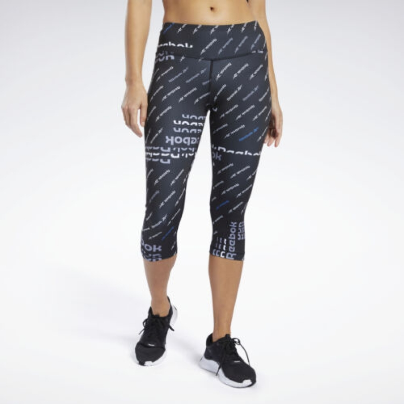 ihocon: Reebok Women's Workout Ready Allover Print Capri Leggings 女士緊身運動褲