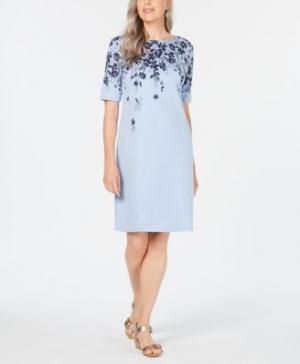 ihocon: Karen Scott Petite Floral-Print T-Shirt Dress洋裝