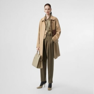 ihocon: Burberry Monogram Leather Detail Cotton Gabardine Car Coat
