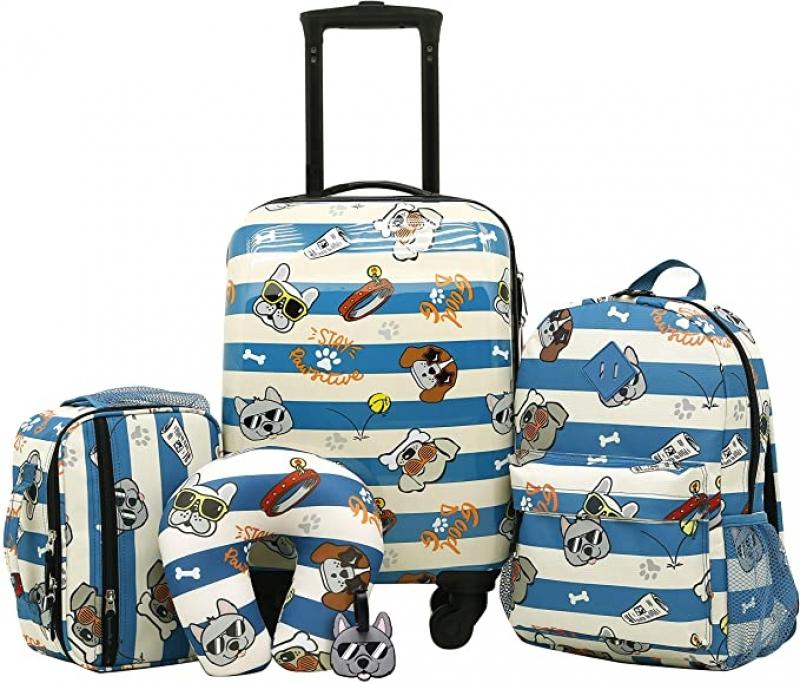 ihocon: Travelers Club Kids' 5 Piece Luggage Travel Set, Cool Dog 兒童行李箱及旅行枕
