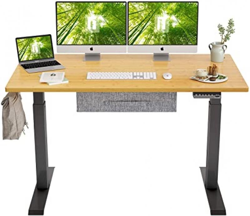 ihocon: FEZIBO Electric Height Adjustable Standing Desk with Drawer, 55 x 24 Inches Splice 電動可調高度辦公桌/電腦桌
