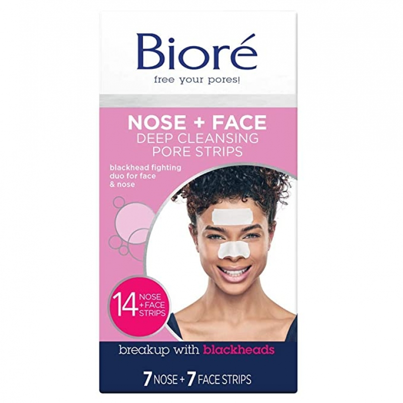 ihocon: Biore Nose+Face, Deep Cleansing Pore Strips, 14 Count, 7 Nose + 7 Chin or Forehead 鼻子,下巴,額頭毛孔深層清潔去黑頭貼片