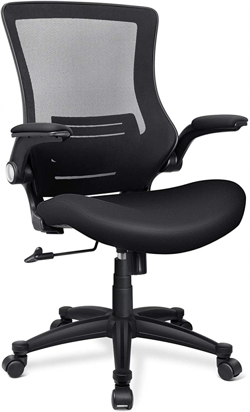 ihocon: Funria Mid Back Mesh Office Chair with Flip-Up Arms Lumbar Support辦公椅/電腦椅