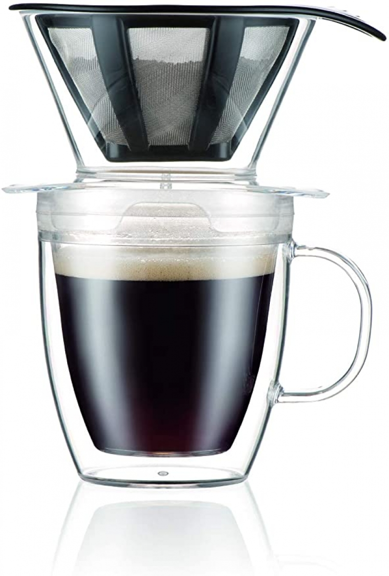 ihocon: Bodum Pour Over Coffee Dripper Set With Double Wall Mug and Permanent Filter, 12 Ounce 手沖咖啡組