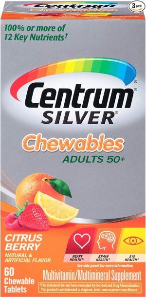 ihocon: Centrum Silver Adult Multivitamin 60 Count (Pack of 3) 銀寶善存綜合維他命嚼片