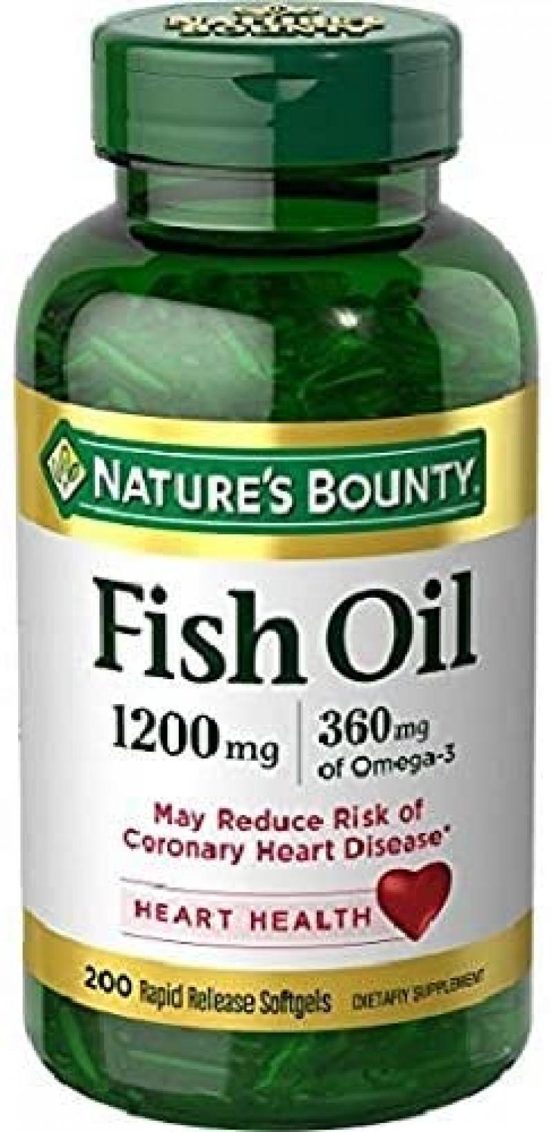 ihocon: Nature's Bounty Fish Oil, 1200 Mg, 200 Rapid Release Softgels 魚油