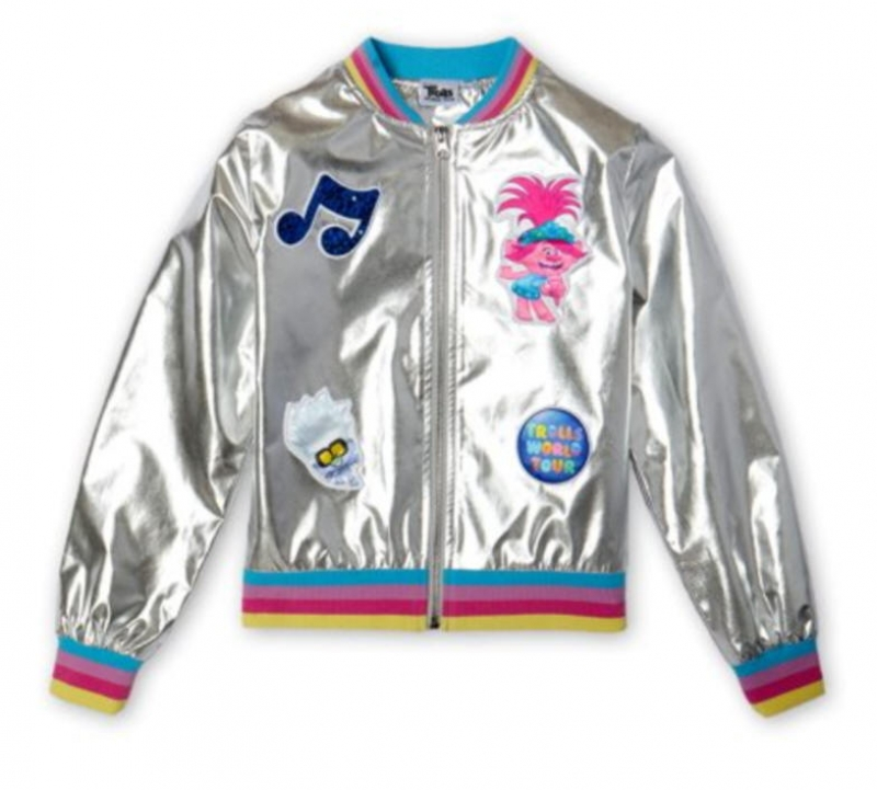 ihocon: Trolls Girls World Tour Metallic Patchwork Bomber Jacket, Sizes 4-16 兒童夾克