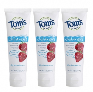 ihocon: Tom's of Maine Fluoride-Free Children's Toothpaste, Silly Strawberry, 4.2 Ounce, Pack of 3 無氟兒童牙膏
