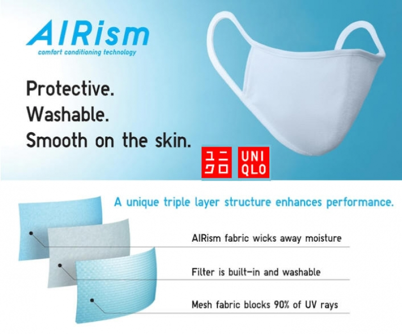 ihocon: Uniqlo AIRism FACE MASK (PACK OF 3)口罩