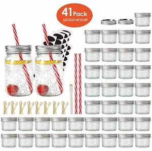 ihocon: Eternal Moment Mason Jar,39 Pack 4oz + 2 Pack 12oz Glass Drinking Jars,41Pack 玻璃罐