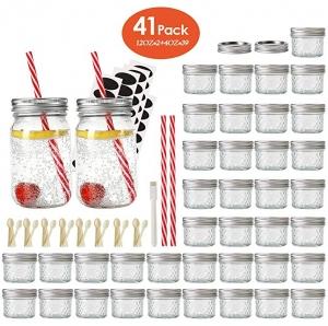 ihocon: Eternal Moment Mason Jar,39 Pack 4oz + 2 Pack 12oz Glass Drinking Jars,41Pack 玻璃罐
