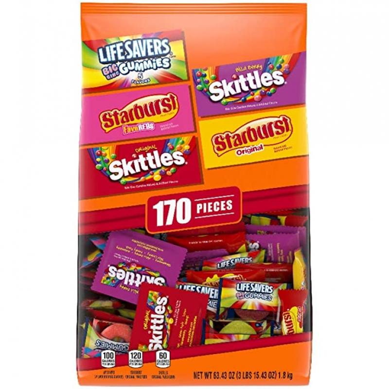ihocon: Skittles Starburst, & Life Savers Gummies Halloween Candy Bag, 170 Fun Sizepiece萬聖節糖果