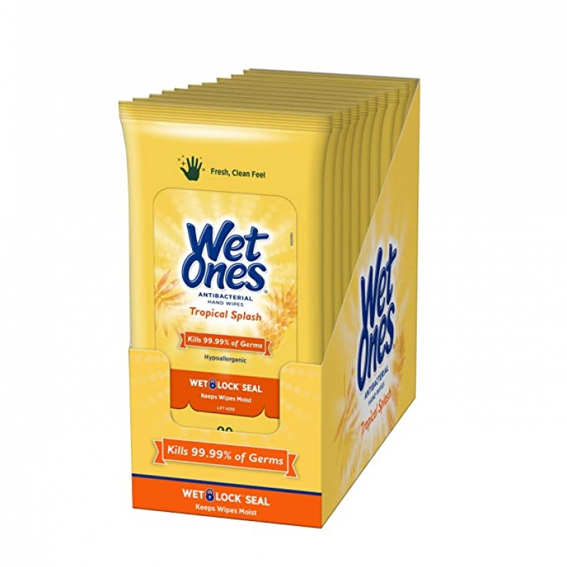 ihocon: Wet Ones Antibacterial Hand Wipes, 20 Count (Pack of 10) 消毒濕巾隨身包
