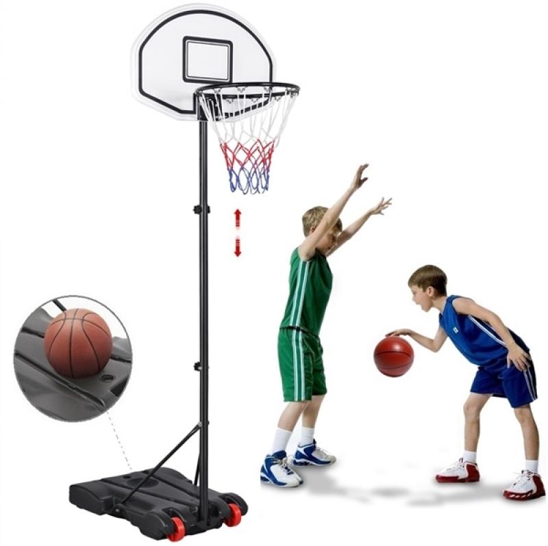 ihocon: SmileMart Portable Height Adjustable Basketball Hoop System with Wheels (29 Inch Backboard) 可調高度籃球架