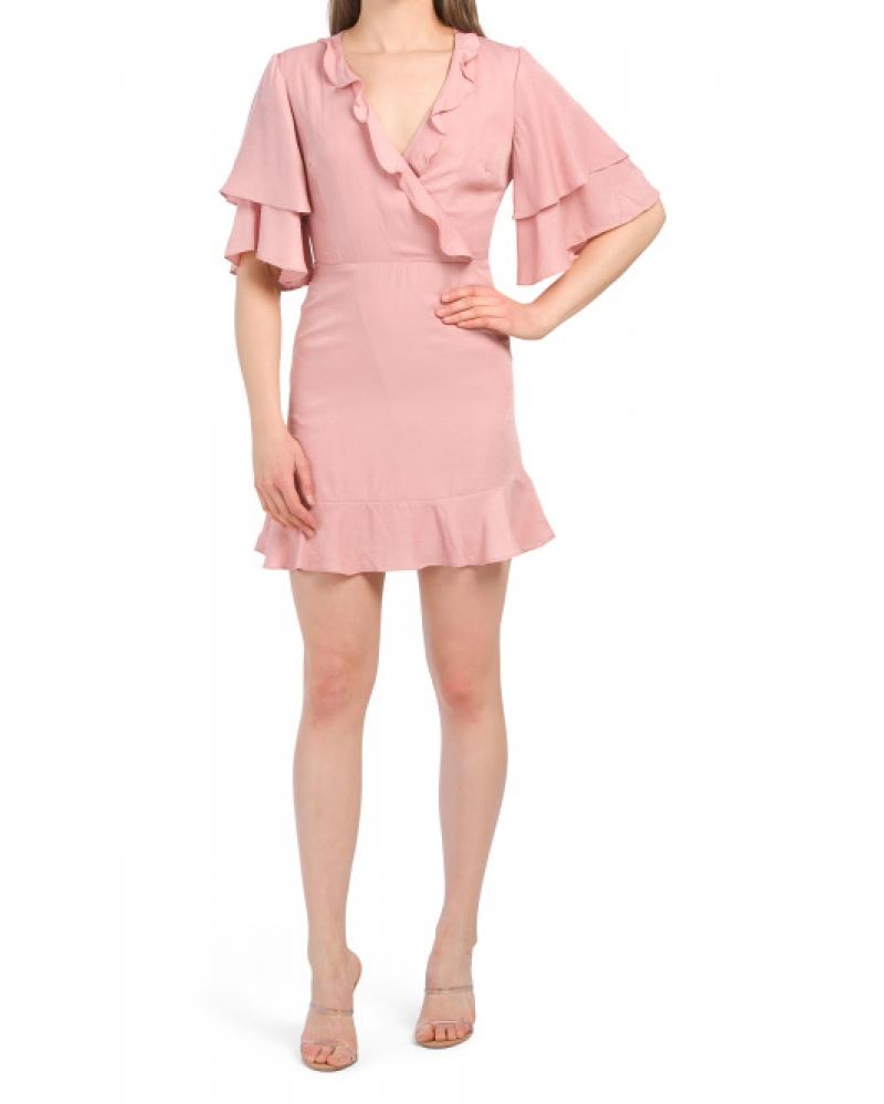 ihocon: ONTWELFTH Juniors Surplice Mini Dress With Ruffles 女士洋裝