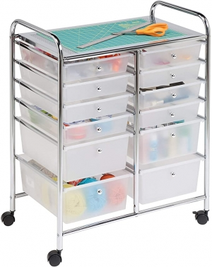 ihocon: Honey-Can-Do Rolling Storage Cart and Organizer with 12 Plastic Drawers有輪收納櫃