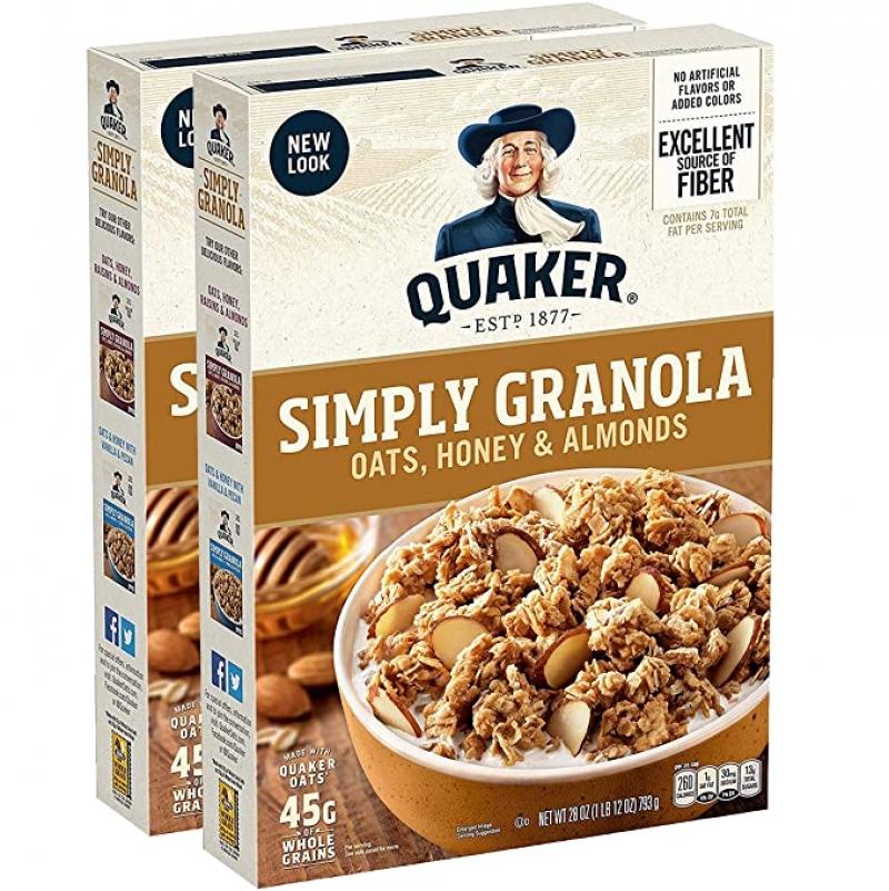 ihocon: Quaker Simply Granola, Oats Honey & Almonds, 28oz Boxes (2 Pack)