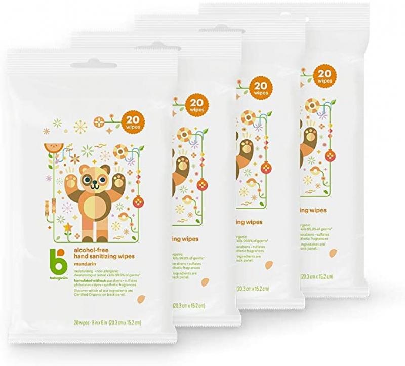 ihocon: Babyganics Alcohol-Free Hand Sanitizer Wipes, Mandarin, 20 ct, 4 Pack 手部消毒濕巾