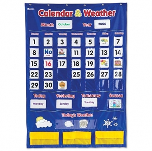 ihocon: Learning Resources Calendar & Weather Pocket Chart, Classroom Organization, 136 Piece 日曆和天氣教具