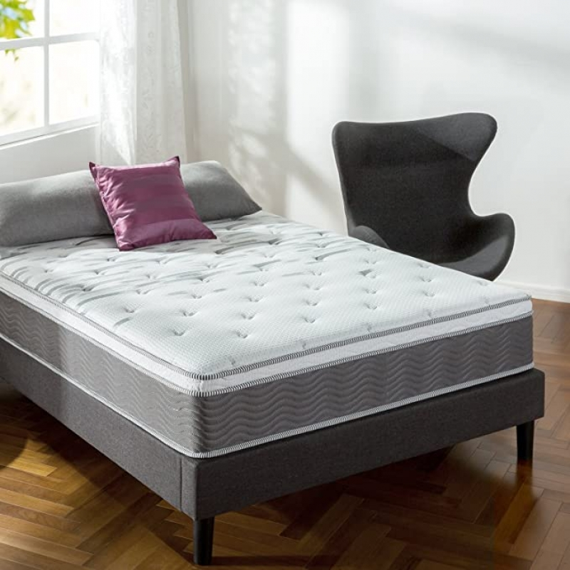 ihocon: Zinus 12 Inch Support Plus Pocket Spring Hybrid Mattress with Euro Top / Extra Firm Feel / More Coils for Durable Support / Pocket Innersprings for Motion Isolation / Bed-in-a-Box, Queen 彈簧床墊